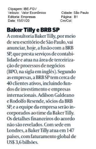 Fusão entre Baker Tilly e BRB
